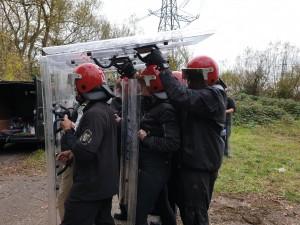 Enforcement agents removing travellers