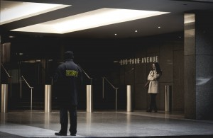 security guard in a business entrance